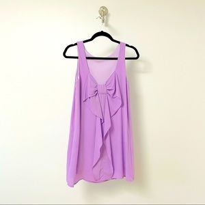 Everly Pastel Bow Back Summer Dress Purple SMALL
